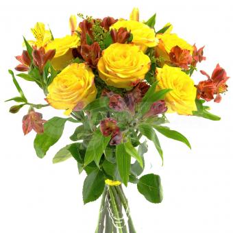 Букет из 7 Альстромерий и 7 роз