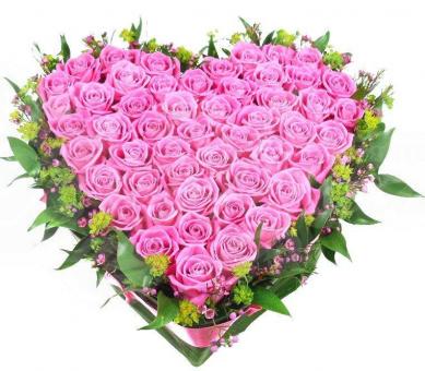 Сердце из 51 розы с зеленью